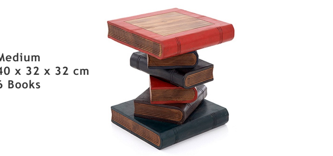 Medium Hand Crafted Book Stack Table